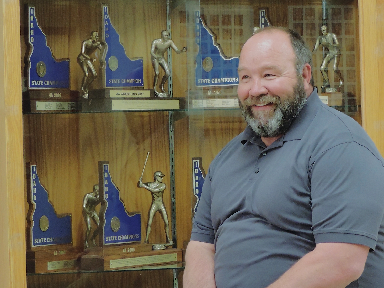 "Coach ""Coop"" wrestling trophies"