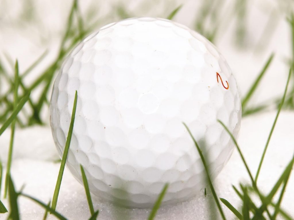 Photo of golf ball in winter