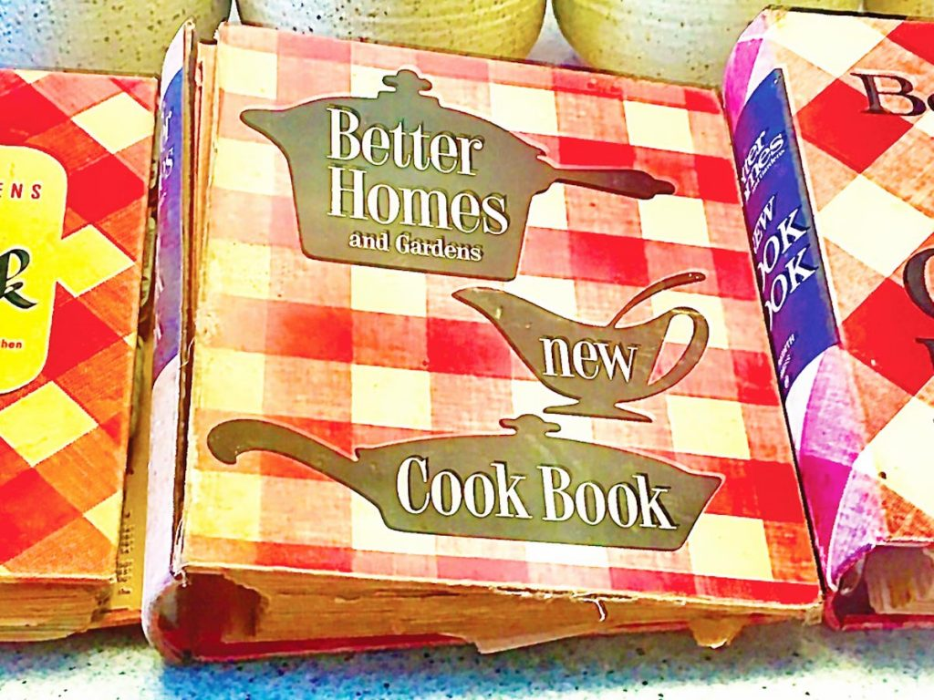 Photo of vintage Better Homes and Gardens cookbooks