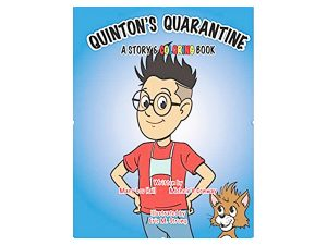 Quinton's Quarantine coloring book — illustration of a boy wearing glasses with hands on hips and a cat.
