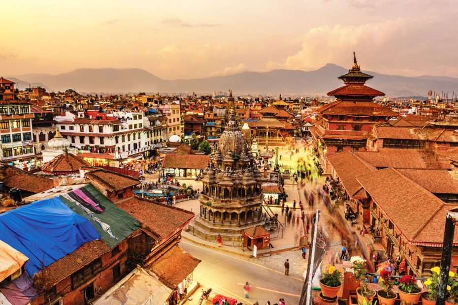 Arial view of Kathmandu, last stop on an overland journey from London to Kathmandu