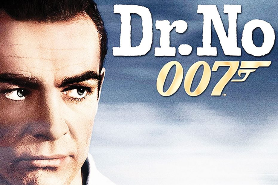 Illustration of a close-cropped Sean Connery as Dr. No and 007 text