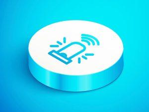 illustration of a medical alert button on blue background