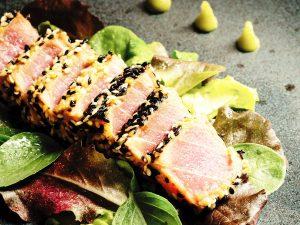 Photo of a sliced ahi tuna steak