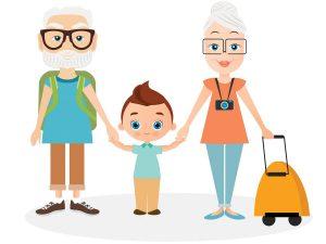 Illustration of grandparents traveling with grandchild